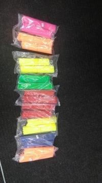 Varastoväreinä pinkki, oranssi, keltainen, vihreä, punainen ja sininen